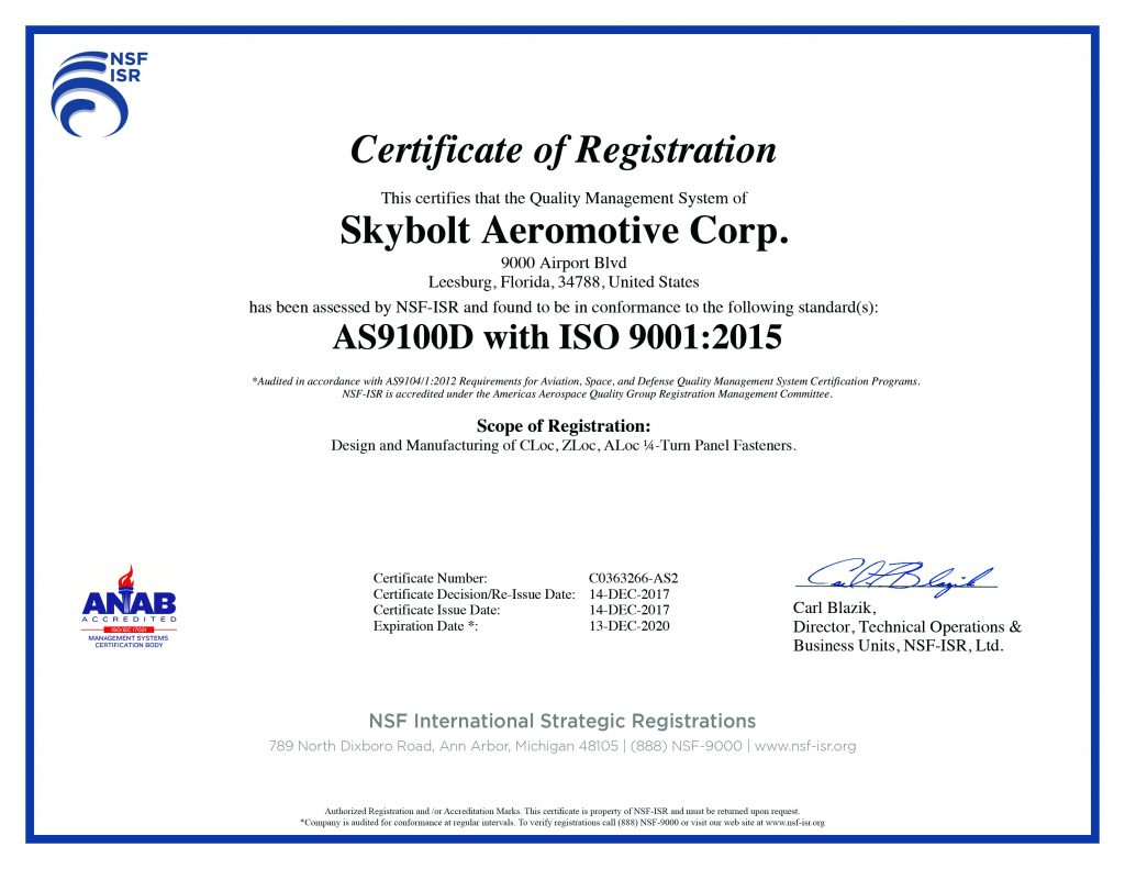 Skybolt Aerospace Fasteners Skybolt Achieves As9100d Iso 90012015